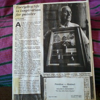 Newspaper Article on William Reinhart, New Orleans Primitive and Abstract Artist - Folk Art