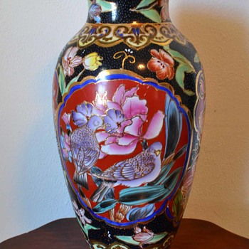 hand painted flower and bird large porceline vase - Pottery