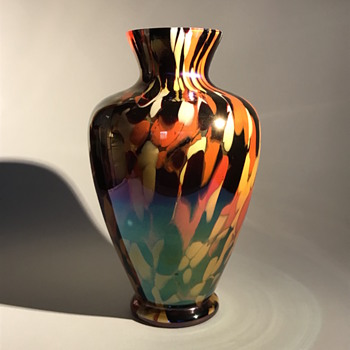 Kralik Iris Spatter Glass Vase - Art Glass