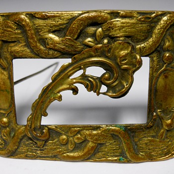 Art Nouveau Brass Sash Pin(Brooch) with Snakes, Leafs and Fruits. - Art Nouveau