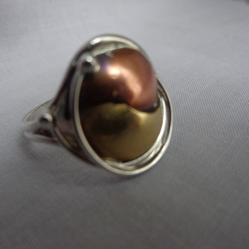 Silver, Brass, and Copper Ring - Marked LC and Sterling