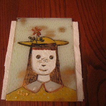 Higgins Mid Century Fused Art Glass Yellow Dress Girl with Flower in her Hat & Orange Dress Girl with a Bird in her Hat