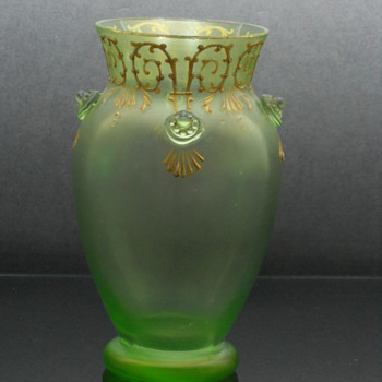 Loetz Olympia enameled vase with applied prunts - Art Glass