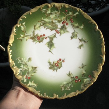 "Antique Tressemanes & Vogt T & V Limoges Holly Berry 7"" Plate - China and Dinnerware"