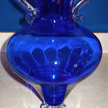 Large Cobalt Vase - Art Glass
