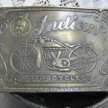 Vintage 1970s Indian Motorcycle Brasstone Belt Buckle
