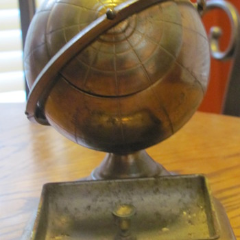 copper and brass globe ash tray