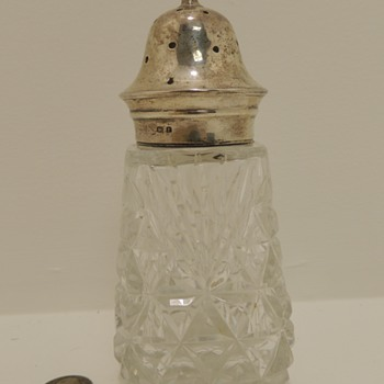 Oversized Crystal & Sterling Salt/Pepper Shaker - G. Unite Sons & Lyde - Birmingham, 1930 - Silver