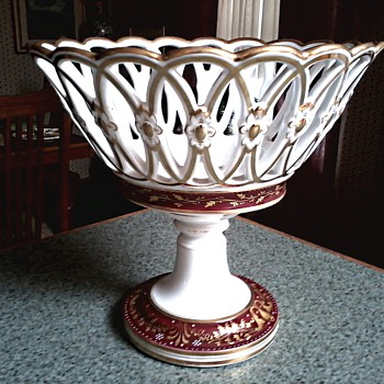 Porcelain Lattice Work Centerpiece / Hand Painted Red and Gold Gilt Design / Unknown Maker and Age - China and Dinnerware