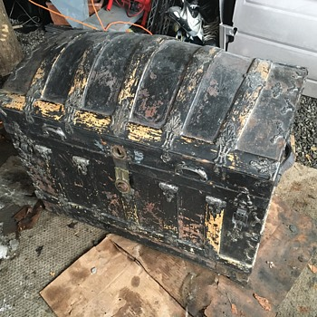 Leather covered antique Romadka trunk - Furniture