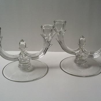 New Martinsville-Viking Candleholders - Glassware