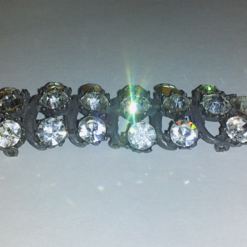 Unknown Metal Bar with large sparkly crystal stones and eyelets