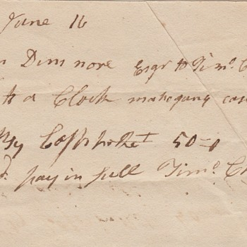 1807 Receipt for Timothy Chandler Clock - Paper