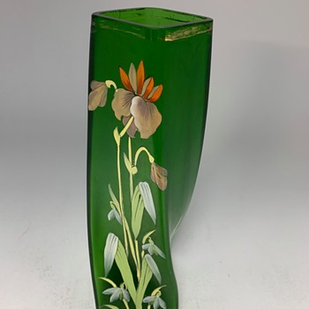 Twisted square Art Nouveau Vase,  1900s Karl Pohl (Novy Bor)  - Art Glass