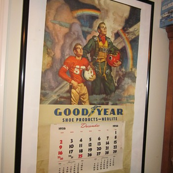 1956 Goodyear large calendar poster. - Advertising