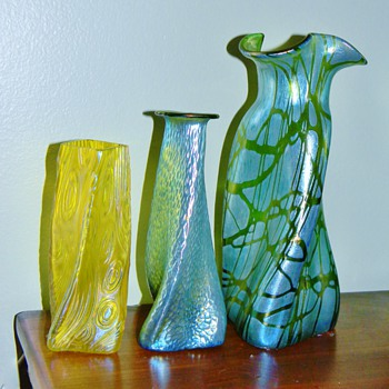 Loetz Pampas & Creta Silberiris Martelé Propeller & Kralik Spiraloptisch Slow Twist Vases  - Art Nouveau