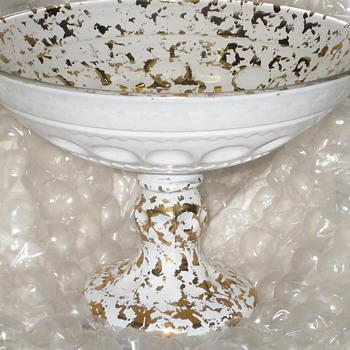 White Glass Gold Flecks Under/Over Glass Compote Pressed Glass