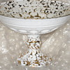 White Glass Gold Flecks Under/Over Glass Compote Pressed Glass