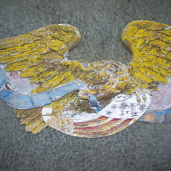 vintage hand caved wooden eagle