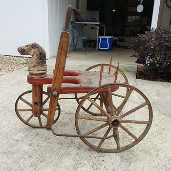 Pump riding toy from the 1800's. has anybody seen one of these that can tell me what it's worth - Toys