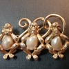 Boucher 3 wise monkeys brooch