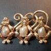Boucher 3 wise monkeys brooch