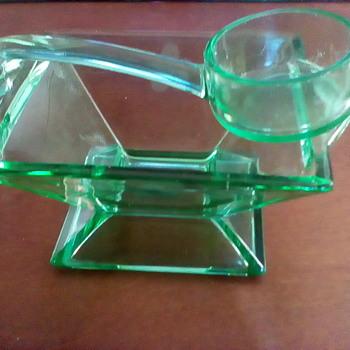 Uranium Glass Condiment Dish With Laddle - Glassware