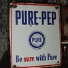 The Pure Oil Company...Pure-Pep...Porcelain Pump Sign 1948...Three Colors