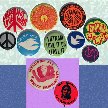 11 Vintage 1960s Protest Pinback Buttons from Vermont - Politics