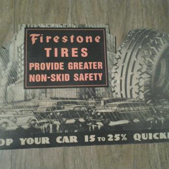 1940s Firestone Tires Die Cut Cardboard Litho Sign
