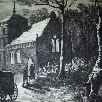 ORIGINAL ETCHING (AT THE HEAD OF THE VILLAGE STREETS) BY C. VOLKMAR