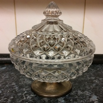 Lead Crystal silver plated serving dish/bowl - Glassware