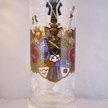 """Bohemian Herrenhäuser German Crest Enamel Vase 11"""" - Art Glass"""