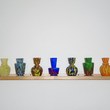 Welz Miniature Hexagonal Vases - Art Glass