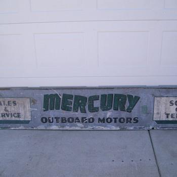 vintage mercury outboard motor sales & service storefront sign - Signs