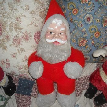 Vintage Santa Plush Doll Plastic Face