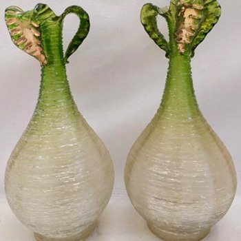 Pair of Early Loetz   Pêle-mêle - 1894 Vases   - Art Glass
