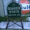 Quaker State Motor Oil (Tombstone sign) with sidewalk frame 1976.