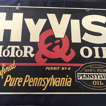 HY-Vis Motor  oil sign 1930's  - Petroliana