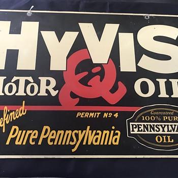HY-Vis Motor  oil sign 1930's  - Petroliana