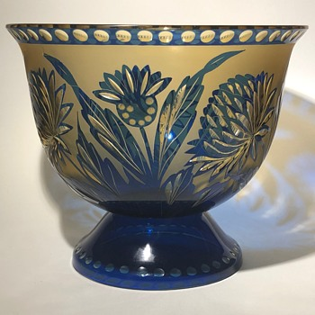 Loetz thistle cut glass vase/bowl C. 1930? - Art Glass