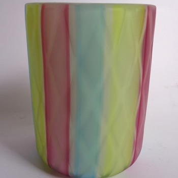1960s Murano rainbow satin glass tumbler - Art Glass