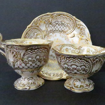 Antique Cup and Saucer Trio - Footed and with Hand Painted Gilt pattern - China and Dinnerware