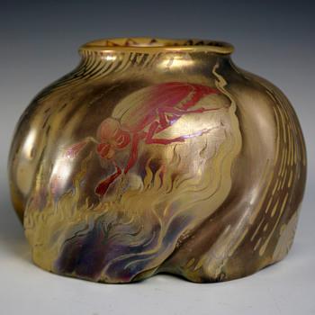 """Keller & Guérin """"Flaming Beetle"""" Reflet Métallique Glazed Stoneware Vase - Art Nouveau"""