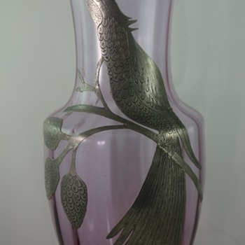 European Alexandrite colored glass vase with silver overlay - Art Glass