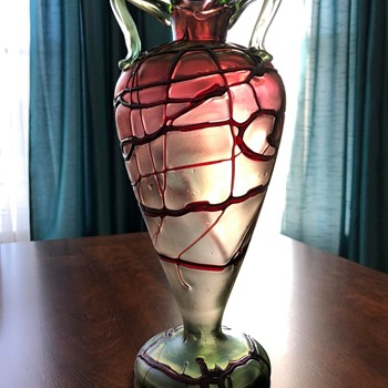 Pallme Konig and Habel Red Threaded vase ca. 1900-05  - Art Glass