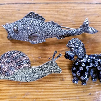 Fish, Snail, and Poodle Novelty Pins, Fahrner, ca 1930s-1950s - Animals