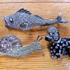 Fish, Snail, and Poodle Novelty Pins, Fahrner, ca 1930s-1950s