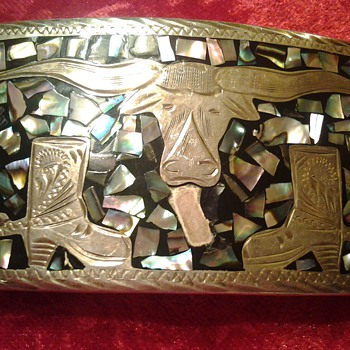 SILVER ABALONE BELT BUCKLE  - Accessories