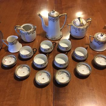 Nippon Hand Painted Brass and China Tea Set - China and Dinnerware
